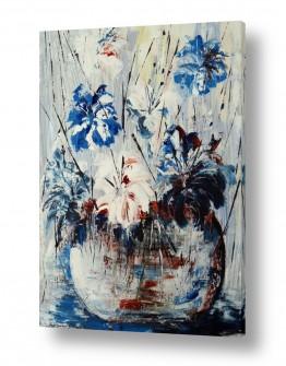 ציורים מרים קופפרשטיך | אגרטל עם פרחים כחולים