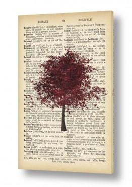 ציורים רטרו | עץ בורדו רטרו על טקסט