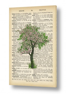 ציורים רטרו | עץ ירוק ורוד רטרו על טקסט
