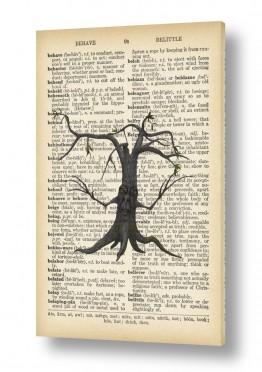 ציורים רטרו | גזע עץ רטרו על טקסט
