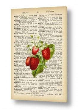צמחים תות | תותים רטרו על טקסט