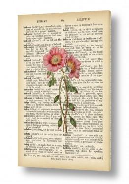 ציורים רטרו | זוג פרחים רטרו על טקסט