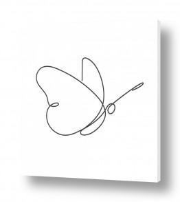 ציורים רישום | פרפר בקו אחד