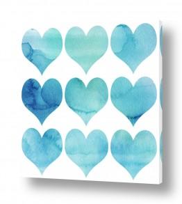 תמונות לחדרי ילדים | אקוורל לבבות