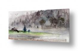 ציורים בעלי חיים   נוף באפור