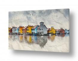 ציורים עירוני וכפרי | ליד האגם הקפוא