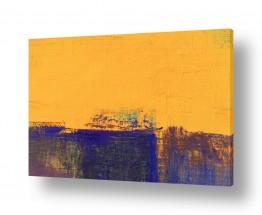 נוף חול   אופק כחול וצהוב