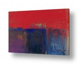 נוף חול   אופק באדום וכחול