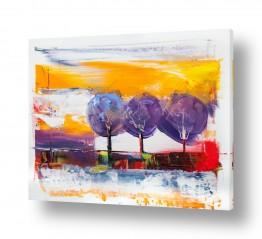 ציורים ציורים אנרגטיים | שלישיית עצים בסגול