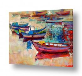ציורים טבע דומם | נוף עם סירות 3