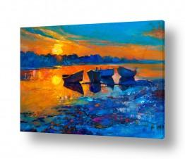 ציורים Artpicked  | נוף עם סירות 4