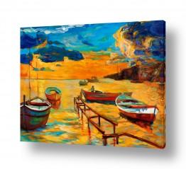 ציורים טבע דומם | נוף עם סירות 5
