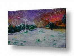 ציורים יהדות | מערת המכפלה בשלג