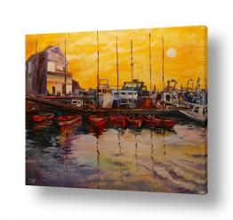 ציורים שמואל מושניק | נמל יפו