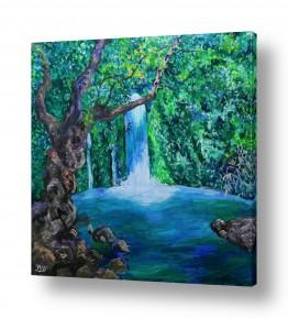 ציורים מים | מפל הבניאס