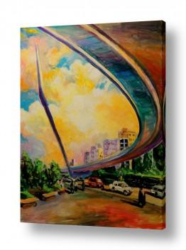 ציורים שמואל מושניק | גשר המיתרים, ירושלים