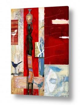 ציורים נעמי פוקס משעול | אשה אפריקאית ושתי ציפורים