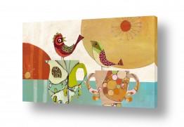 ציורים נעמי פוקס משעול | Two birds and cups