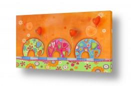תמונות לחדרי ילדים | פילים צבעונים