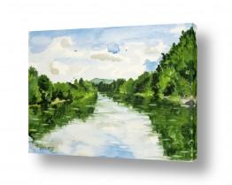 ציורים ציור בצבעי מים | השתקפות בנחל