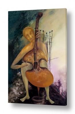 ציורים נריה איטקין | נגן הצ'לו