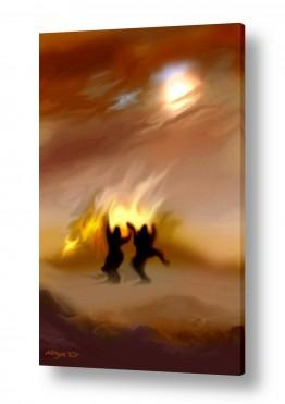 ציורים נריה איטקין | אש ושני ליצנים