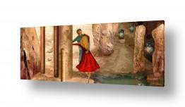 ציורים נריה איטקין | ריקוד בעמודי שלמה