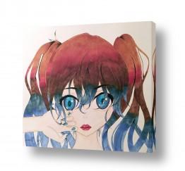 סגול סגול | נערה עם עיניים כחולות