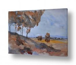 ציורים אורן יבנין | עצים כחולים
