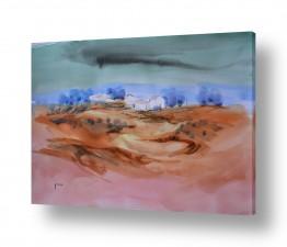 ציורים ציור בצבעי מים   נוף כפרי