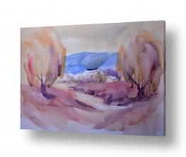 ציורים ציור בצבעי מים | נוף כפרי