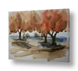 ציורים ציור בצבעי מים | עצים חומים
