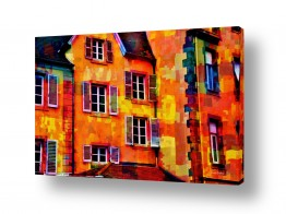 בתים גגות | חלונות בצבע