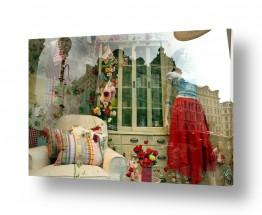 חלונות חלון ראווה | חצאית אדומה ופרחים בחלון