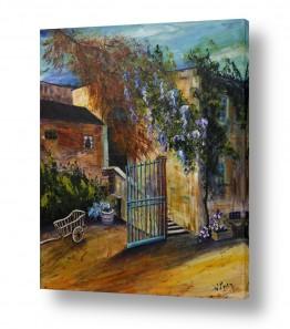 ציורים טבע דומם | כרכרה בחצר