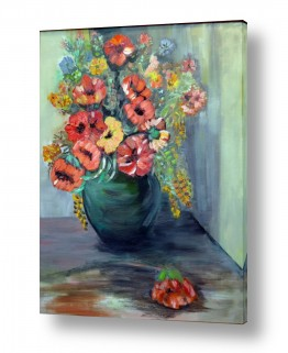 טבע דומם אגרטל פרחים | סידור פרחים
