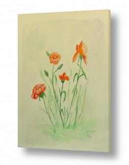תמונות לפי נושאים צבעי אקריליק | פרחי שדה 1
