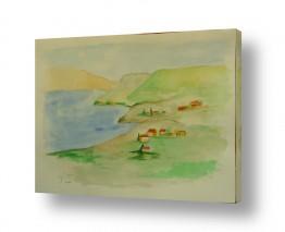 ציורים ציור בצבעי מים | הכנרת למרגלות הארבל 2