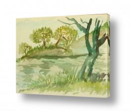 ציורים ציור בצבעי מים | על גדות הירקון 3