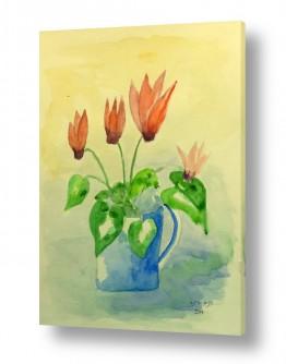 ציורים ציור בצבעי מים | רקפות בכד