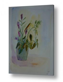 ציורים ציור בצבעי מים | כד פרחים 2