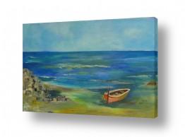 ציורים מים | סירה בחוף הים