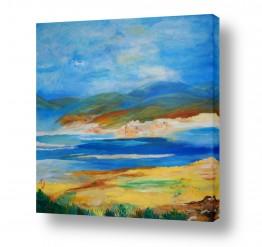 ציורים נופים וטבע | הרים נושקים לים