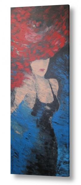 ציורים רוני רות פלמר   אשה עם כובע אדום