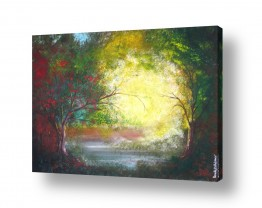 ציורים רוני רות פלמר   שמש מבעד לעצים