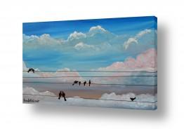 ציורים רוני רות פלמר | ציפורים במנוחה