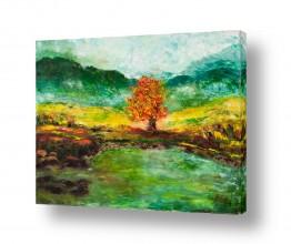 ציורים מים | העץ הבודד