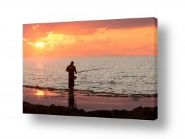 תמונות לפי נושאים דייגים | שקיעה בחוף אכזיב