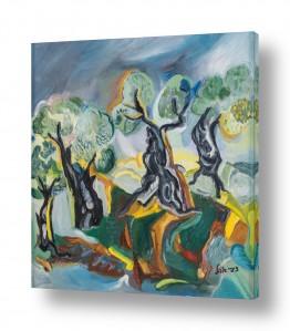 עץ עץ זית | מטע זיתים אבסטרקט