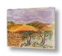 עץ עץ זית | עצי זית בצבעי מים